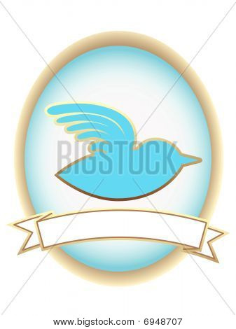 Silhouetted bird symbol inside oval banner advertisement setting poster