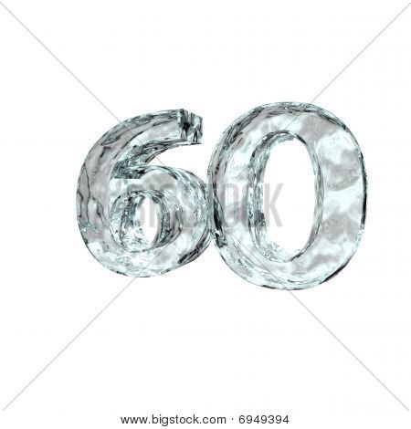 frozen number sixty - 60 - on white background - 3d illustration poster