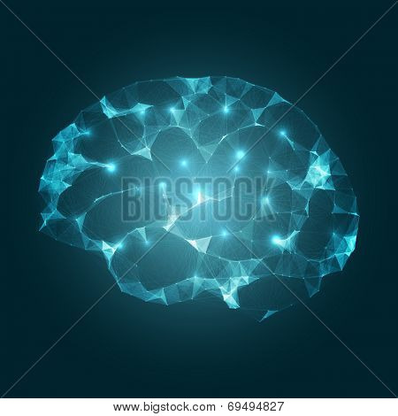 Brain Impulses | Mesh Vector Design | EPS10 Futuristic Technology Concept