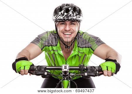 Young Male Cyclist With His Bicycle On Race