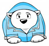 Illustration. Funny polar bear in a doctor's smock, isolated on white background. poster