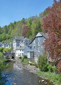 the idyllic Village of Monschau in Eifel at Rur River,North Rhine Westfalia,Germany poster