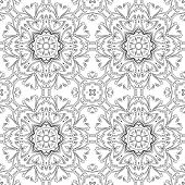 Abstract floral pattern, black contours on white background. Vector poster