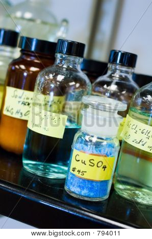 Copper Sulfate With Other Bottled Chemicals