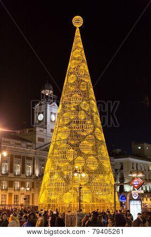 Illuminated Christmas Tree On Puerta Del Sol