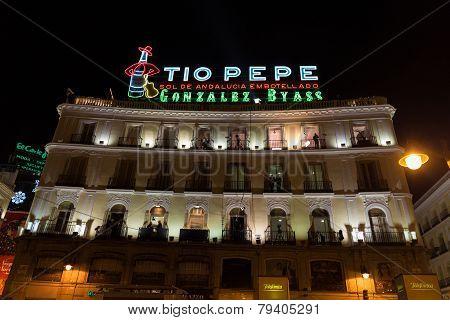 Landmark Tío Pepe Sign At Puerta Del Sol
