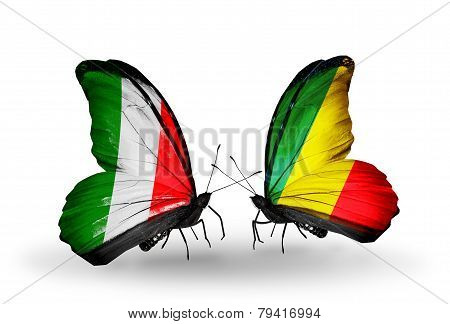 Two Butterflies With Flags On Wings As Symbol Of Relations Italy And Kongo