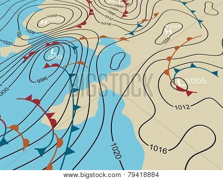 Editable vector illustration of an angled generic weather system map