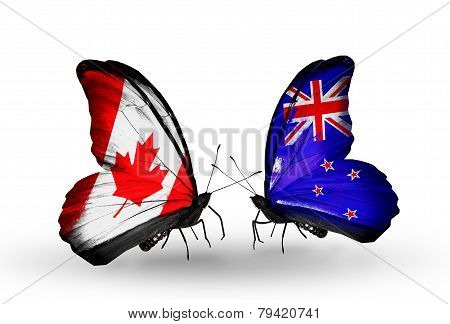 Two Butterflies With Flags On Wings As Symbol Of Relations Canada And New Zealand