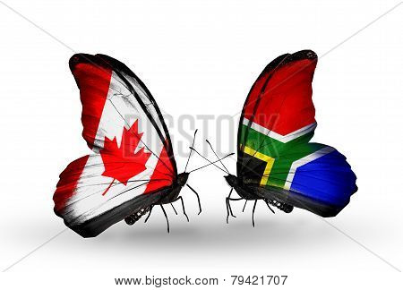 Two Butterflies With Flags On Wings As Symbol Of Relations Canada And South Africa