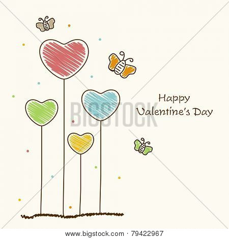 Beautiful love greeting card design with colorful hearts and butterflies on white background for Happy Valentine's Day celebration.