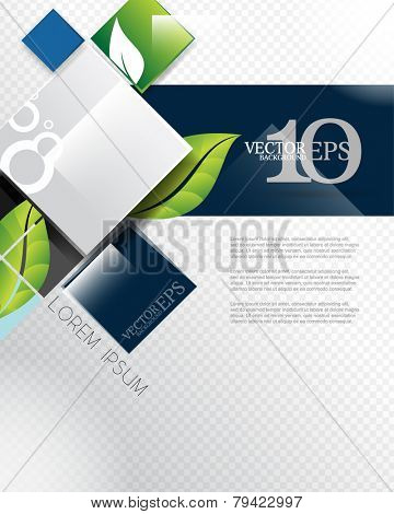 eps10 vector elegant leaf elements geometric squares corporate business background