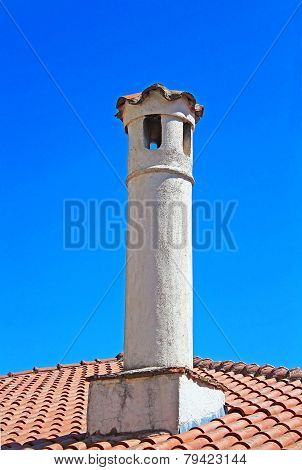 Chimney On The Roof  In Kastoria City (epirus, Greece)