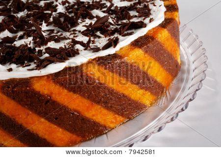 close up chocolate orange cake