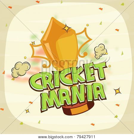 Winning trophy for Cricket Mania on stylish background.