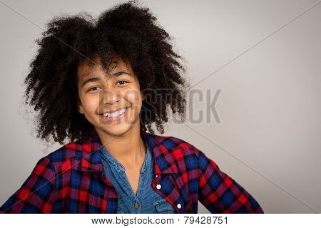 Mixed Race Girl With Whacky Afro Hair