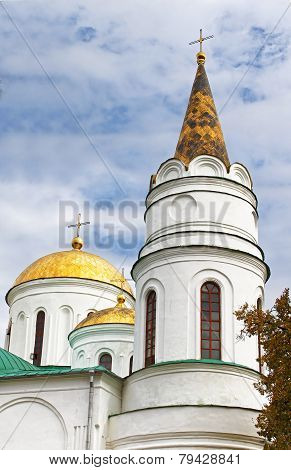 Domes of Transfiguration Cathedral in Chernigov, Ukraine poster