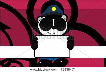 singboard panda bear cop cartoon background