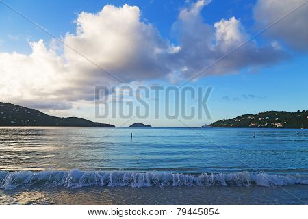 Sunset at Magens Bay beach on St Thomas Island.