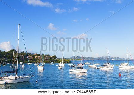 Yachts near the pier at St John Island US VI.