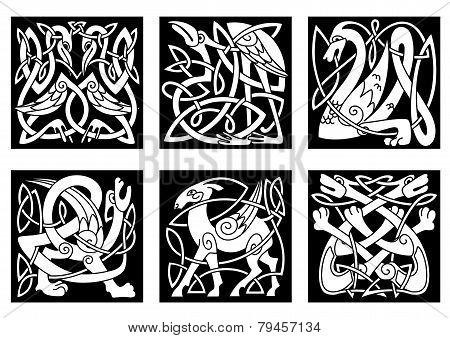 Celtic Style Animals On Black Background