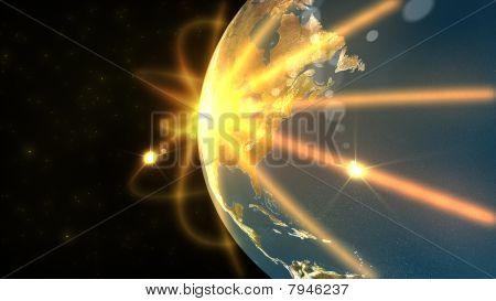 Animation Showing A Big Terrestrial Globe