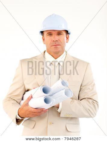 Handsome Architect Holding Blueprints