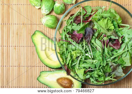 Fresh Green Salad With Spinach,arugula,rom Aine And Broccoli And Avocado