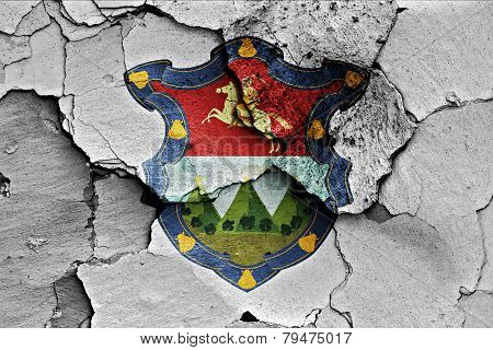 Flag Of Guatemala City Painted On Cracked Wall