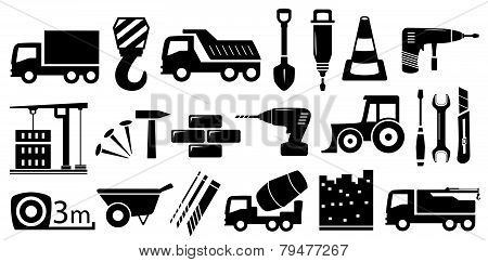 set industrial construction objects