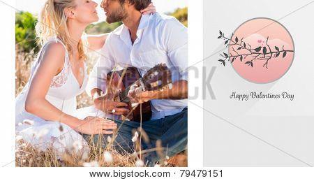 Handsome man serenading his girlfriend with guitar against love birds