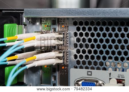 IT cloud server in a datacenter with fiber optic connection
