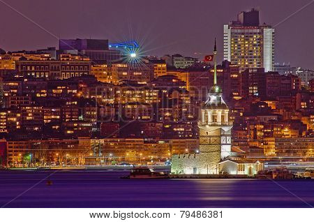 Night on Maiden or Leander's Tower at Istanbul as seen from Uskudar poster