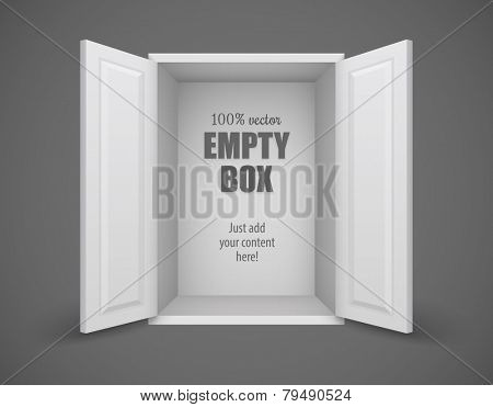 Empty box with open doors nothing inside. Eps10 vector illustration