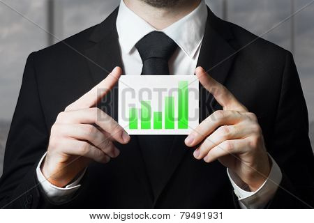 Businessman Holding Sign Green Bar Diagram