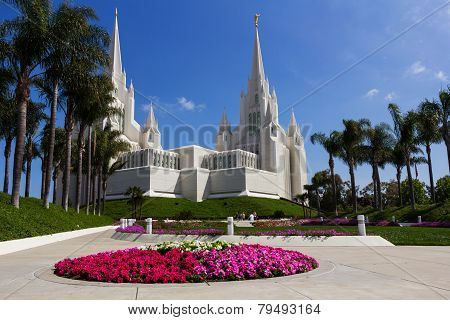 San Diego Temple In A Sunny Day