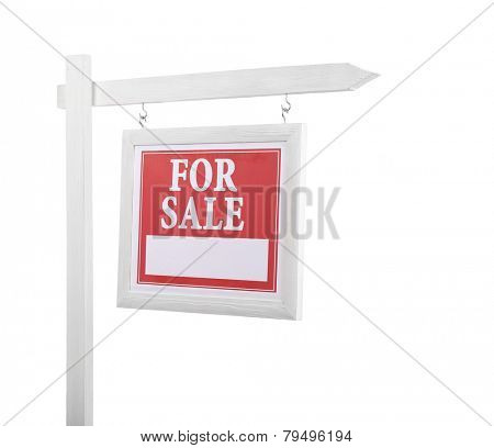 Signpost with inscription isolated on white