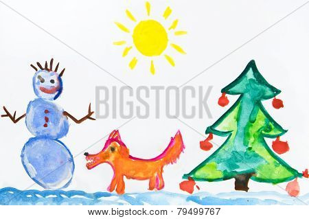 Child's Christmas Drawing