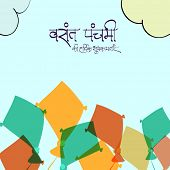 Happy Vasant Panchami, Hindu community festival celebration with Hindi text (Best wishes for Vasant Panchami) and colorful kites. poster