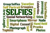 Selfies word cloud on white background poster