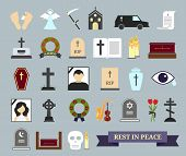 Death, ritual and burial colored icons. Web elements on the theme of death, the funeral ceremony. Vector illustration poster