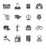 Law court and criminal symbols icon black set isolated vector illustration poster