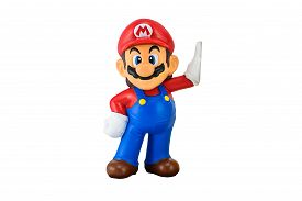 Super Mario Toy Character Isolated On White.