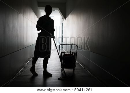 Silhouette Of Female Maid With Mop Cleaning Floor Of Hall poster