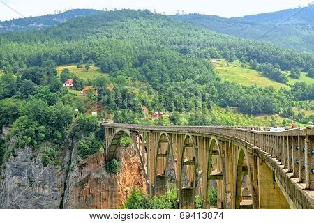 Djurdjevica Bridge over the Tara River in Montenegro