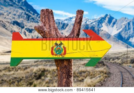 Bolivia Flag wooden sign with Cordillera background