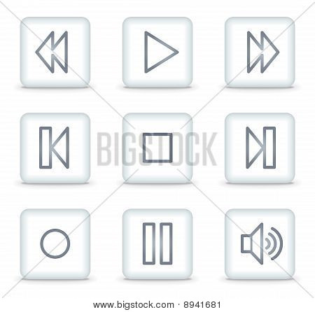 Vector web icons, white glossy square buttons poster