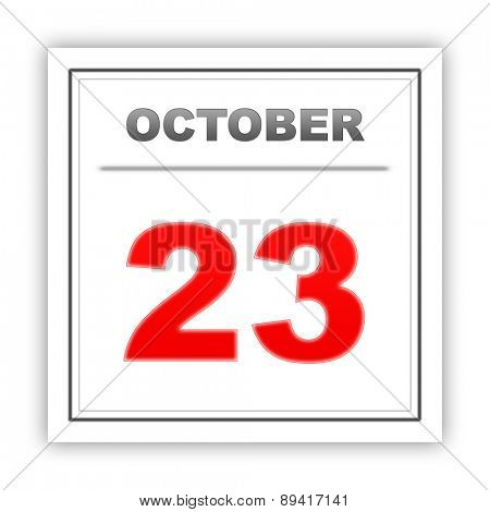 October 23. Day on the calendar. 3d poster
