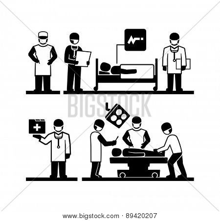 Surgeons Operating Doctor holding medical records Patient lying in a hospital bed