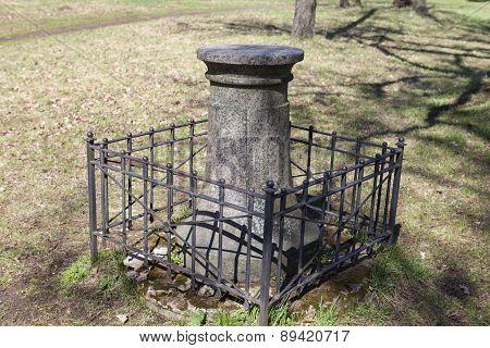 The pedestal of a sundial in the estate Priyutino. Vsevolozhsk. Leningrad region.